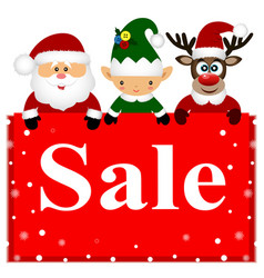 christmas sale christmas deer christmas elf and vector image