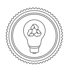 circular frame contour with bulb light with vector image