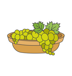 Clusters of green grapes in beige bowl art icon vector