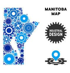 Collage manitoba province map of gears vector