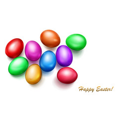 colored easter eggs on white background vector image