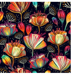 Colorful floral seamless pattern plants ornament vector