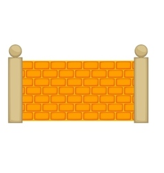 Concrete fence icon cartoon style vector image