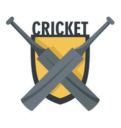 cricket crossed bats logo flat style vector image