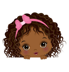 Cute african american baby girl playing peekaboo vector