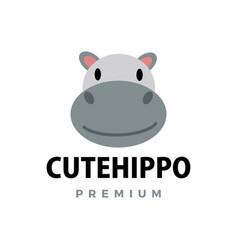 cute hippo flat logo icon vector image