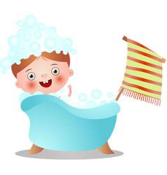 Cute red hair kid in bathtub take shower vector