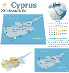 Cyprus maps with markers vector image vector image