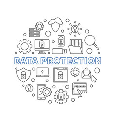 data protection circular concept line vector image