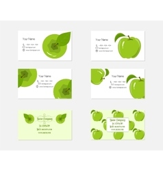 Design Business Cards with Green Apples for vector