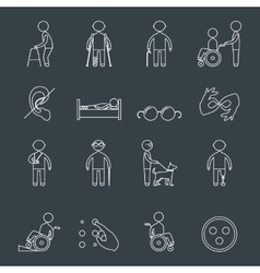 Disabled icons set outline vector image