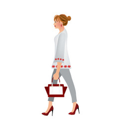 elegant woman walking vector image