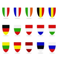 European flags shield-shaped vector image