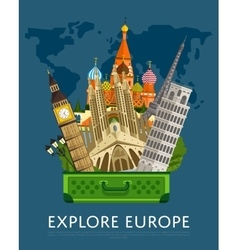 Explore europe banner with famous attractions vector
