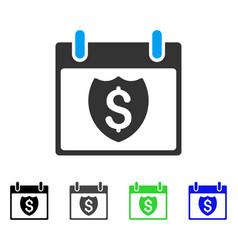 Financial shield calendar day flat icon vector