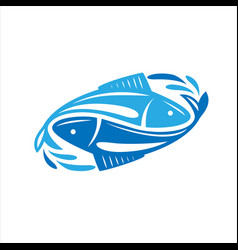 Fish logo fresh seafood template design vector