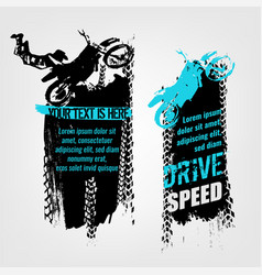Flying motorcycle banner vector