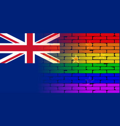 Gay rainbow wall new zealand flag vector