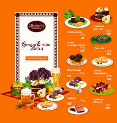 German cuisine dishes and drinks menu vector