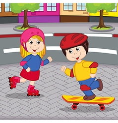 girl and boy on skateboarding and rollerblading vector image