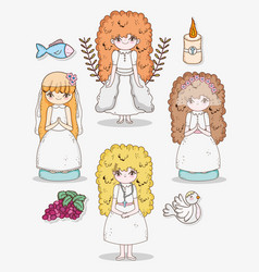 girls communion with grapes and candle with dove vector image