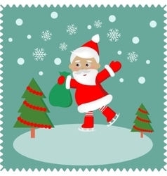 Greeting card with happy Santa vector image