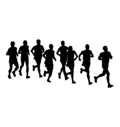 Group marathon racers running silhouette vector