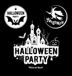 Halloween party message black and white vector