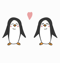 hand drawn a pair of penguins vector image