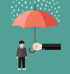 Hand holding an umbrella protecting businessman vector