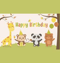 Happy birthday cute anima small party vector