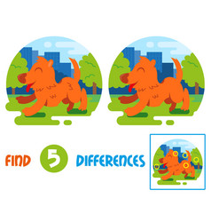 happy dog find 10 differences vector image