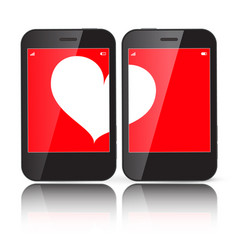 heart on two cell phones displays vector image