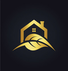 house leaf nature gold logo vector image