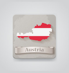 icon austria map with flag vector image