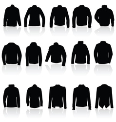 Jacket for man and women in black silhouette vector