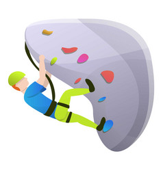 kid wall climbing icon cartoon style vector image