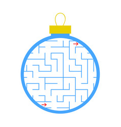 Labyrinth christmas tree toy simple flat isolated vector