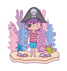 little pirate undersea with seaweed fairytale vector image