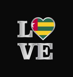 love typography togo flag design beautiful vector image