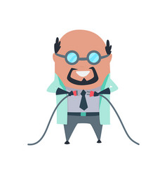 Mad professor in lab coat and dark rubber gloves vector