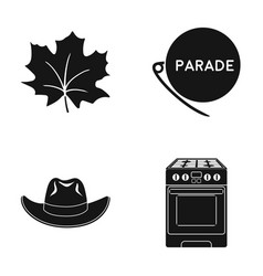 Maple leaf badge and other web icon in black vector
