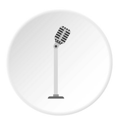 Microphone on stand icon circle vector