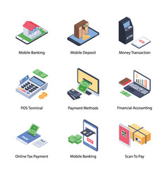 Mobile banking icons pack vector