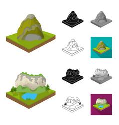Mountains massive cartoonblackflatmonochrome vector