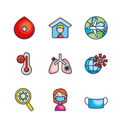 mouth mask virus and medicine icon set line vector image