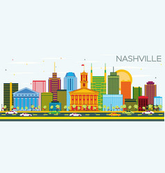 nashville skyline with color buildings and blue vector image