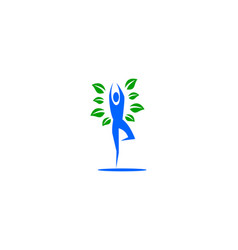 nature yoga logo template design vector image