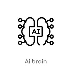 Outline ai brain icon isolated black simple line vector