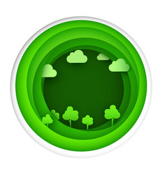 paper art of eco park on green circle shape vector image